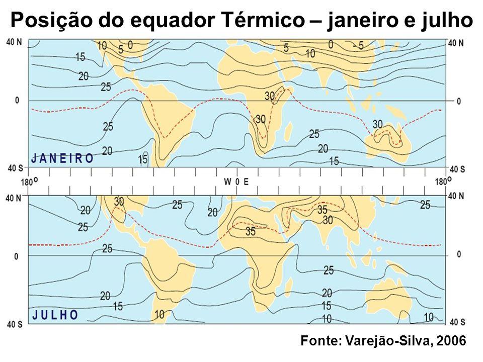 Posição do equador Térmico – janeiro e julho