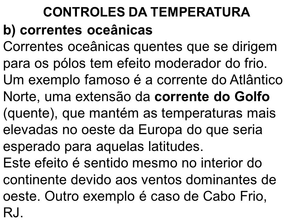 CONTROLES DA TEMPERATURA