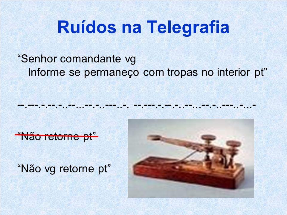 Ruídos na Telegrafia Senhor comandante vg Informe se permaneço com tropas no interior pt