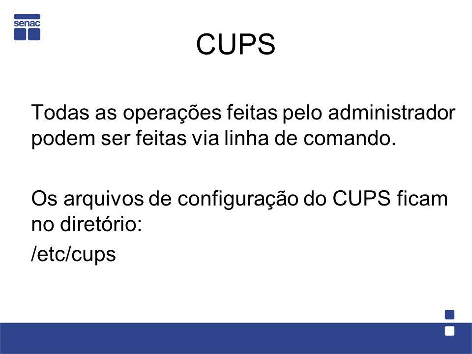 CUPS Todas as operações feitas pelo administrador podem ser feitas via linha de comando. Os arquivos de configuração do CUPS ficam no diretório: