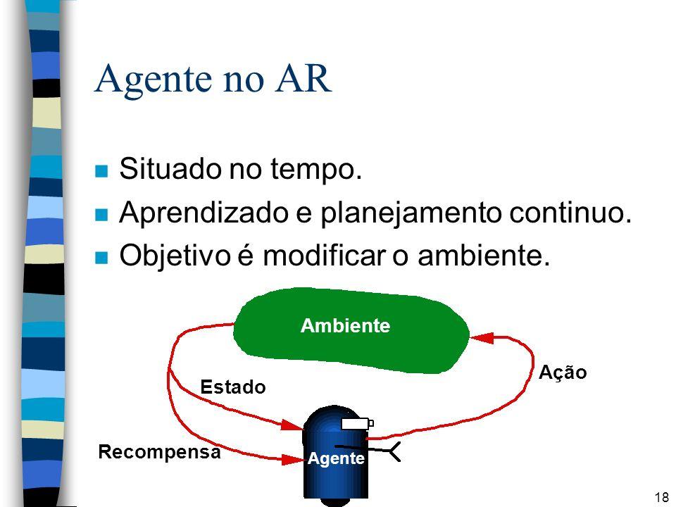 Agente no AR Situado no tempo. Aprendizado e planejamento continuo.