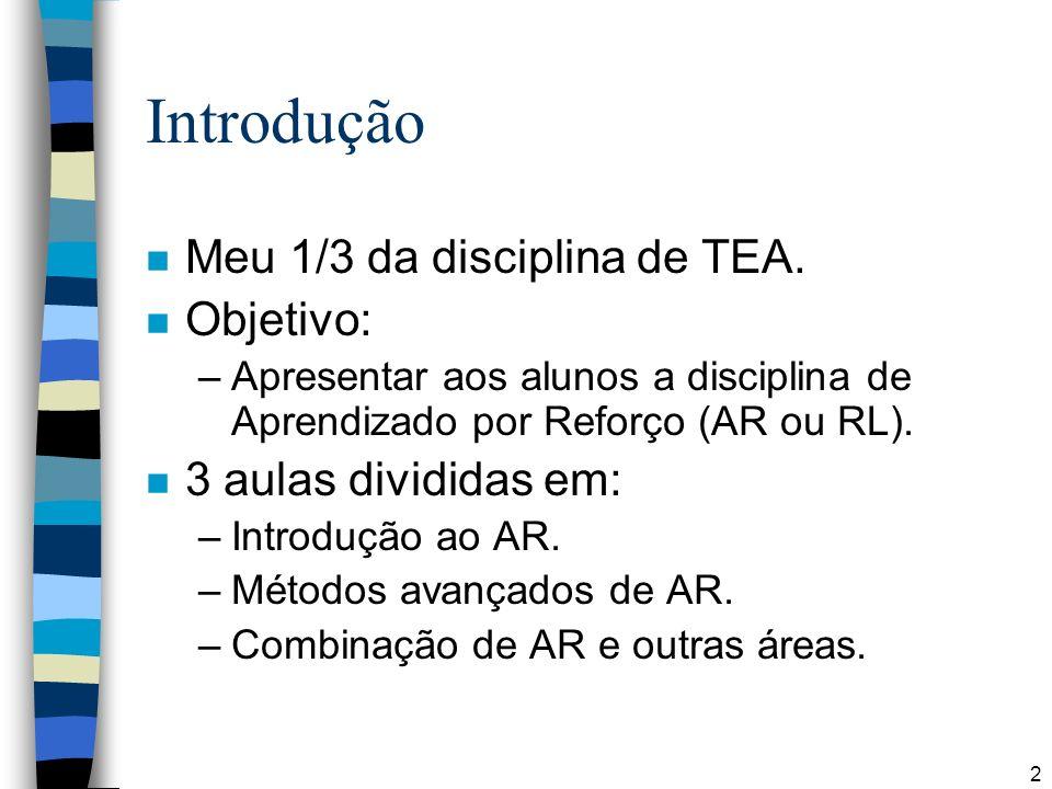 Introdução Meu 1/3 da disciplina de TEA. Objetivo: