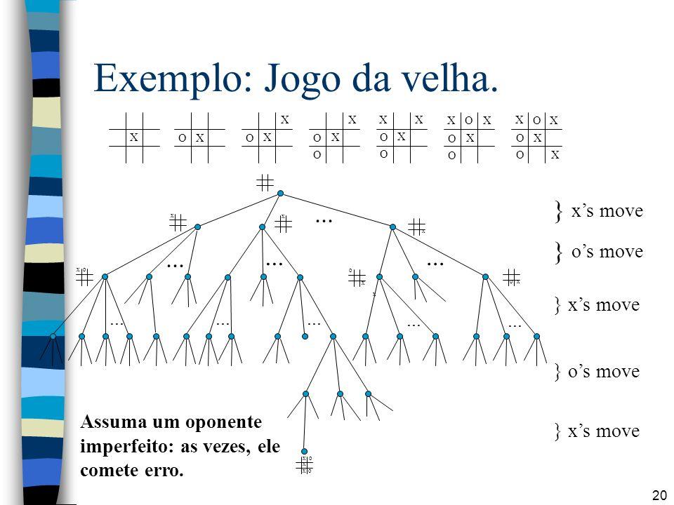 Exemplo: Jogo da velha. ... } x's move } o's move ... ... ...