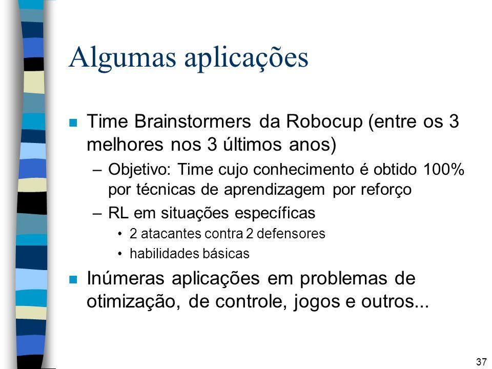 Algumas aplicações Time Brainstormers da Robocup (entre os 3 melhores nos 3 últimos anos)