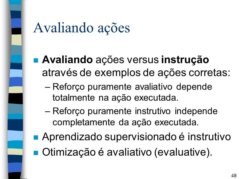 Avaliando ações Avaliando ações versus instrução através de exemplos de ações corretas: