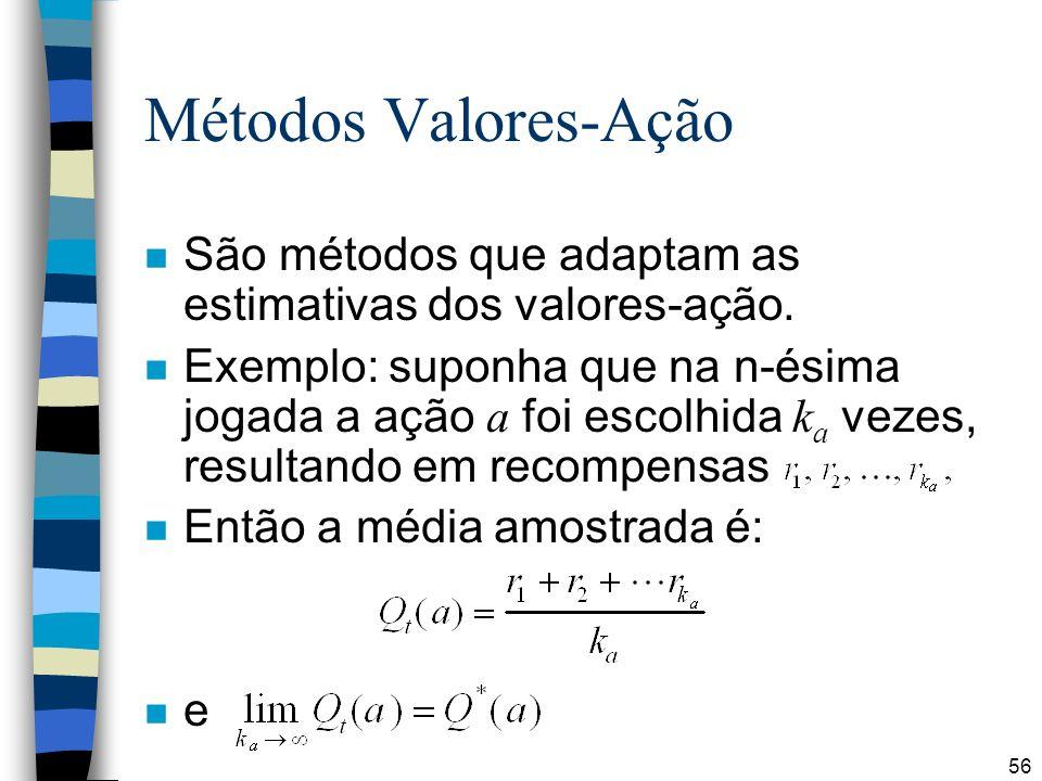 Métodos Valores-Ação São métodos que adaptam as estimativas dos valores-ação.