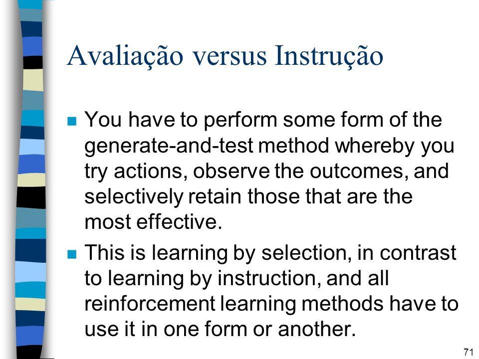 Avaliação versus Instrução