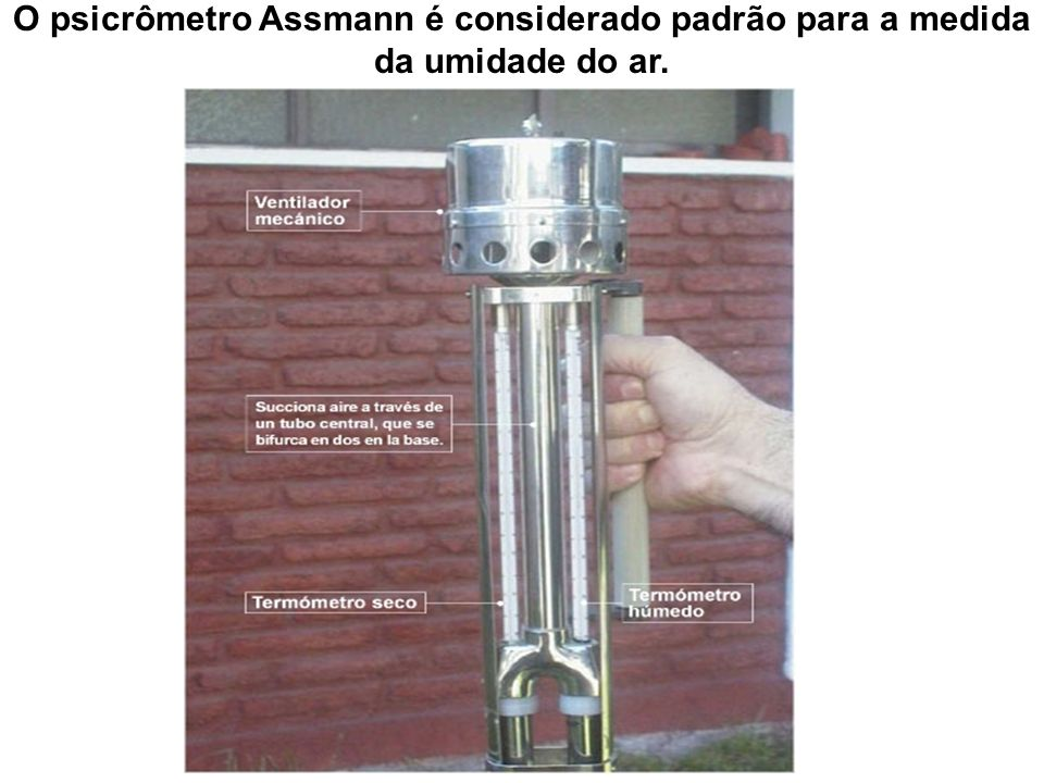 O psicrômetro Assmann é considerado padrão para a medida da umidade do ar.