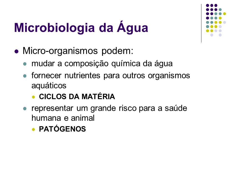 Microbiologia da Água Micro-organismos podem: