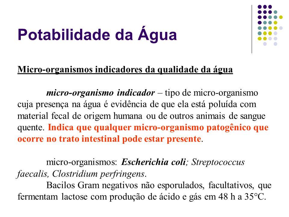 Potabilidade da Água Micro-organismos indicadores da qualidade da água
