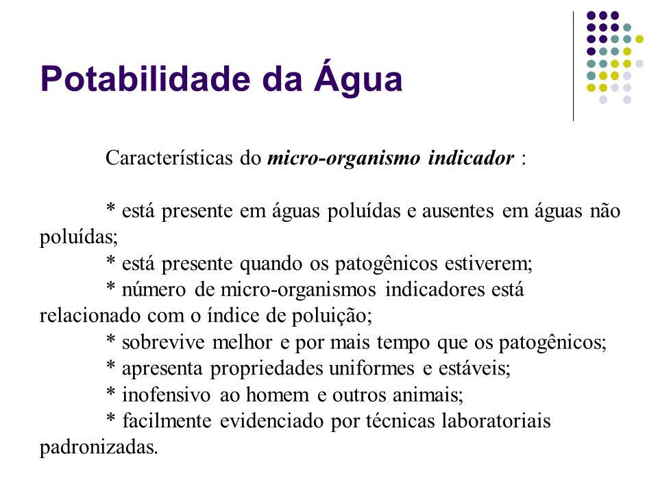 Potabilidade da Água Características do micro-organismo indicador :