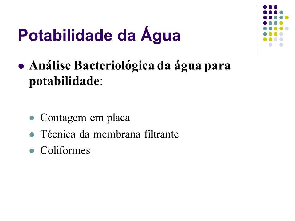 Potabilidade da Água Análise Bacteriológica da água para potabilidade: