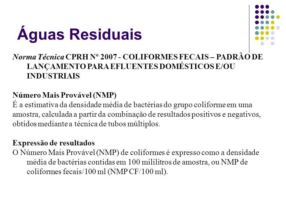 Águas Residuais Norma Técnica CPRH Nº 2007 - COLIFORMES FECAIS – PADRÃO DE LANÇAMENTO PARA EFLUENTES DOMÉSTICOS E/OU INDUSTRIAIS.