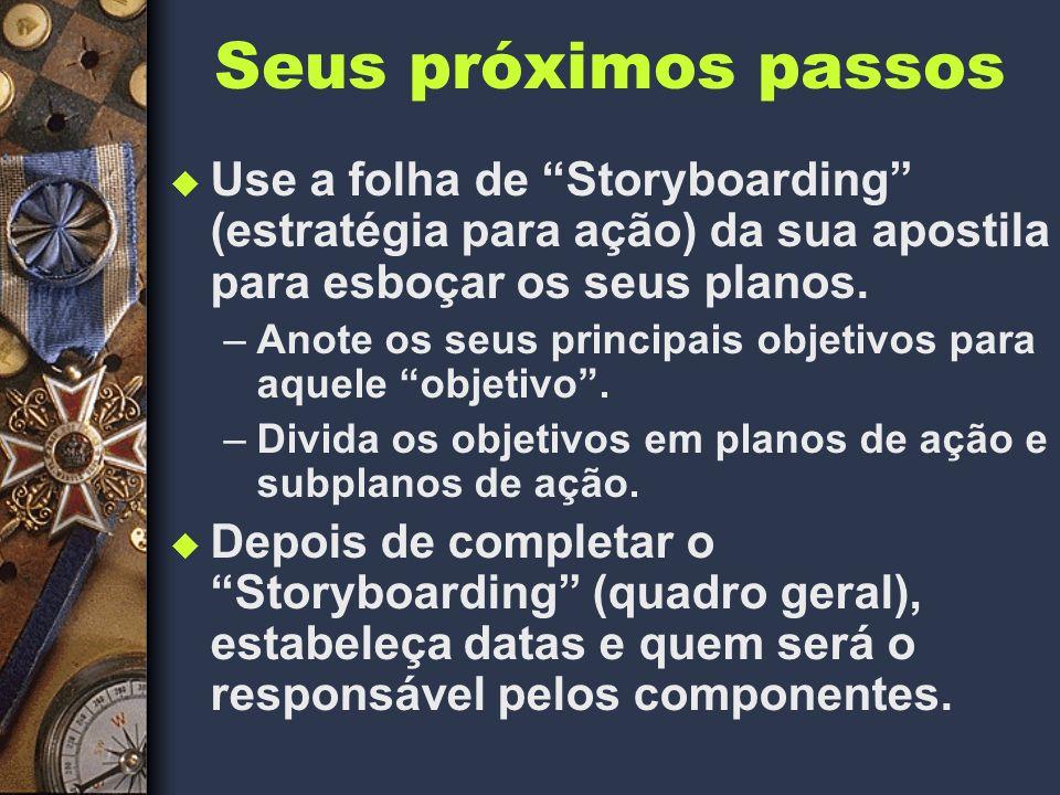Seus próximos passos Use a folha de Storyboarding (estratégia para ação) da sua apostila para esboçar os seus planos.