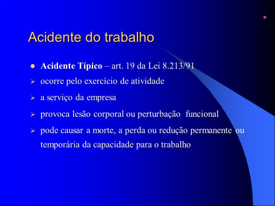 Acidente do trabalho Acidente Típico – art. 19 da Lei 8.213/91