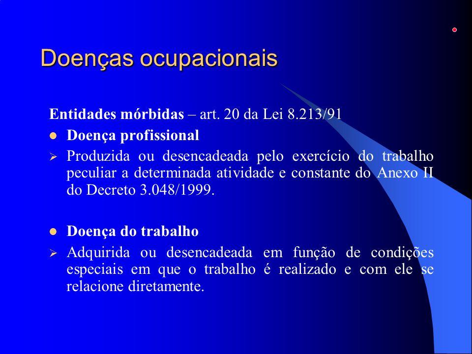 Doenças ocupacionais Entidades mórbidas – art. 20 da Lei 8.213/91