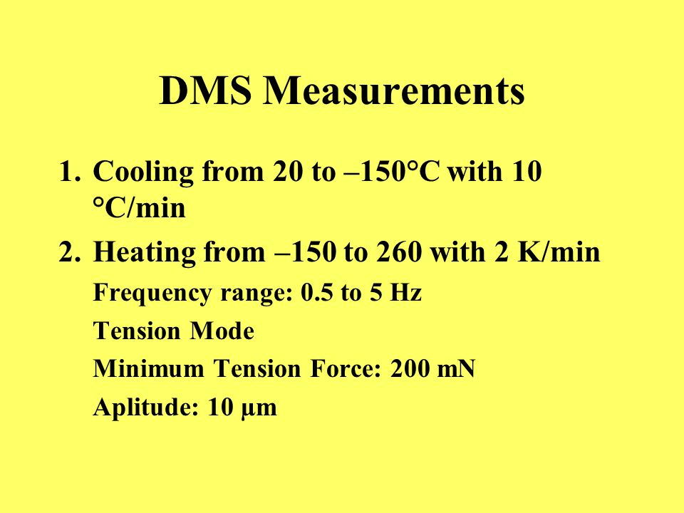 DMS Measurements Cooling from 20 to –150°C with 10 °C/min