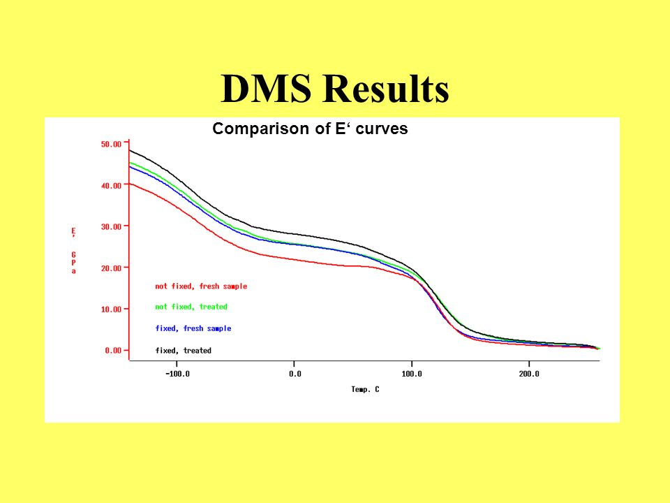 DMS Results Comparison of E' curves