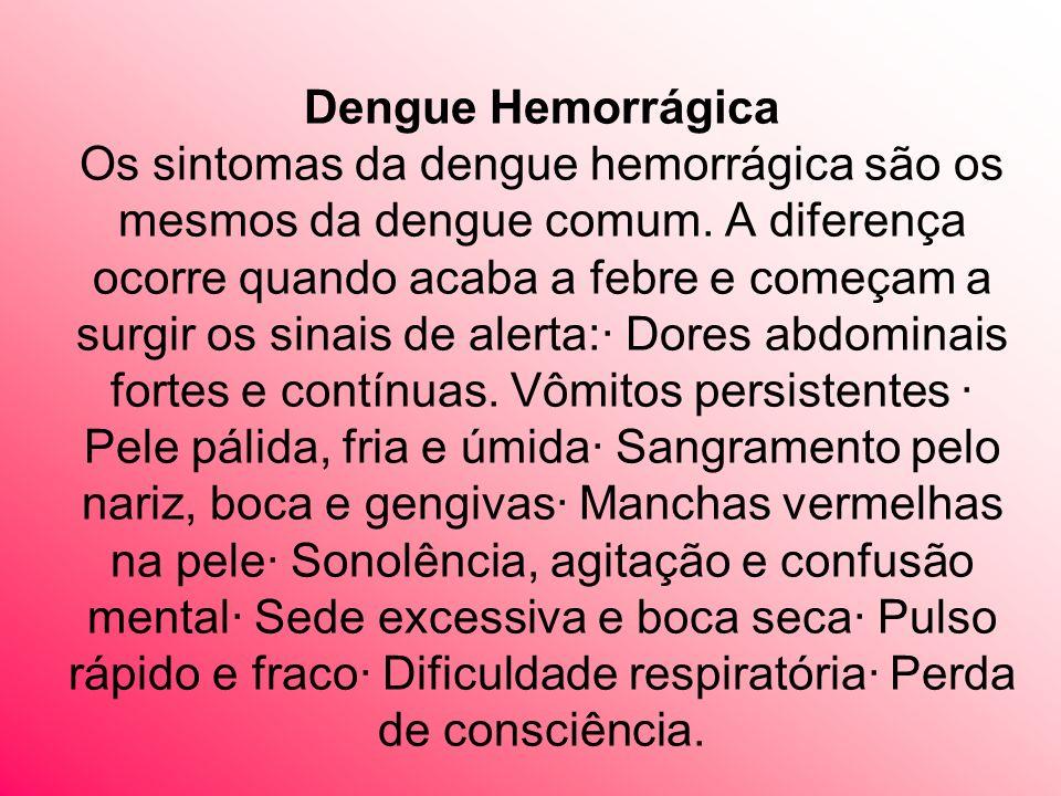 Dengue Hemorrágica Os sintomas da dengue hemorrágica são os mesmos da dengue comum.