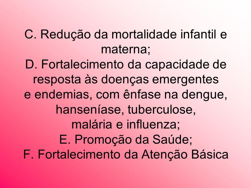 C. Redução da mortalidade infantil e materna; D