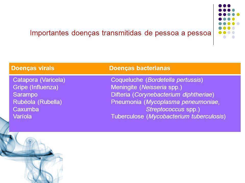 Importantes doenças transmitidas de pessoa a pessoa