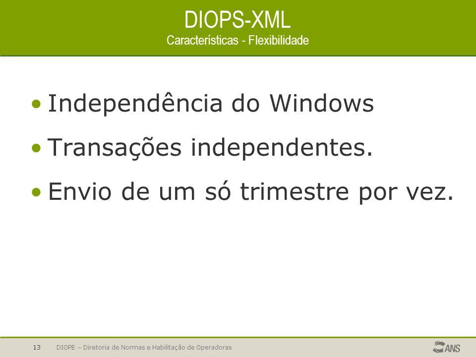 DIOPS-XML Características - Flexibilidade