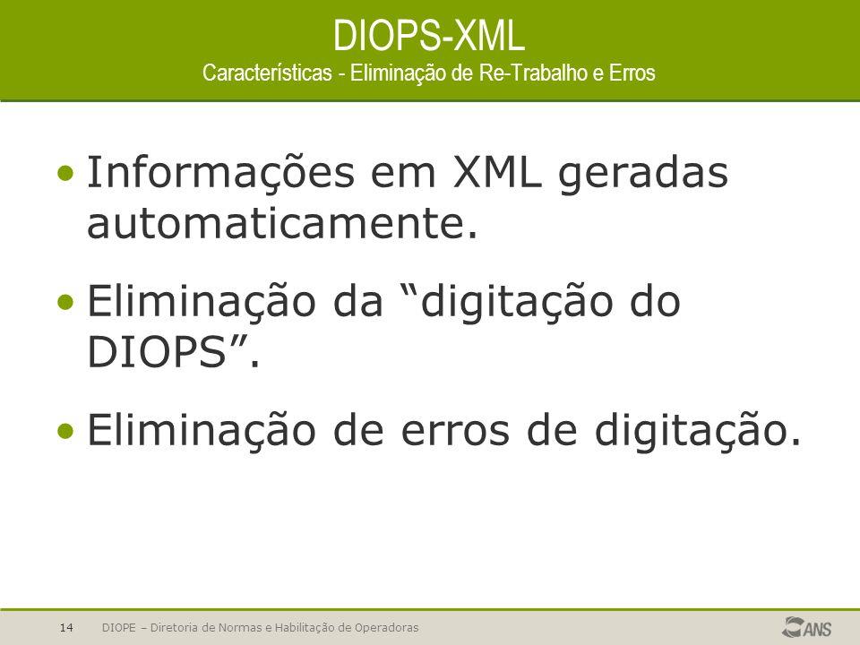 DIOPS-XML Características - Eliminação de Re-Trabalho e Erros