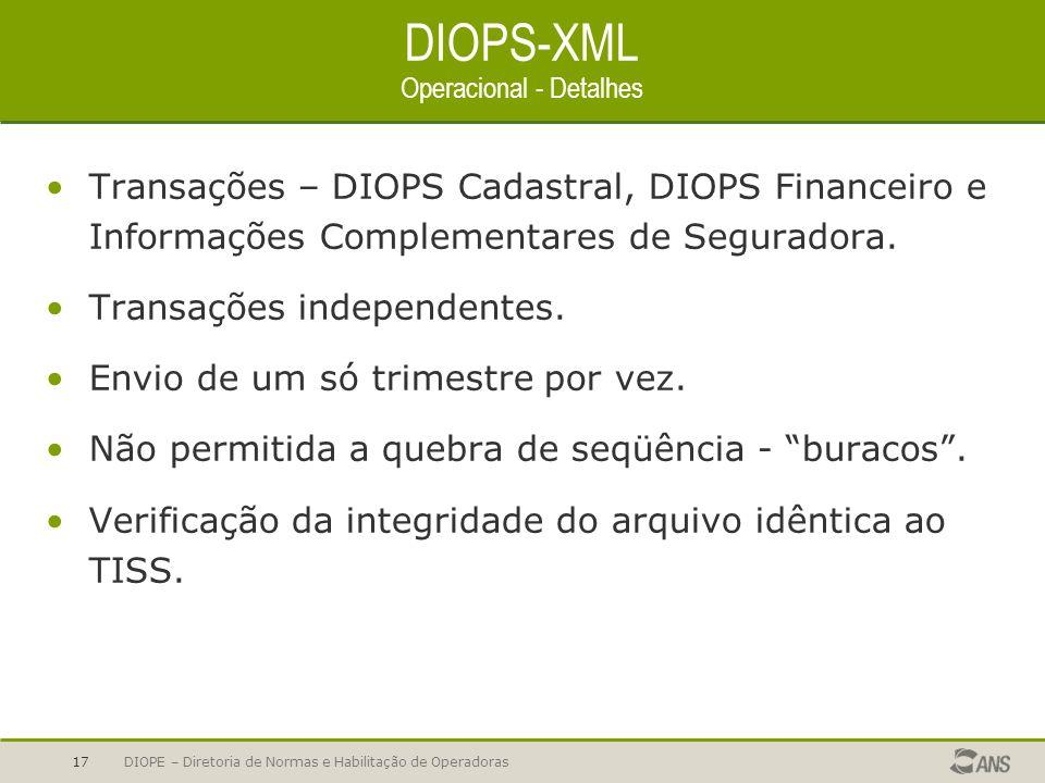 DIOPS-XML Operacional - Detalhes