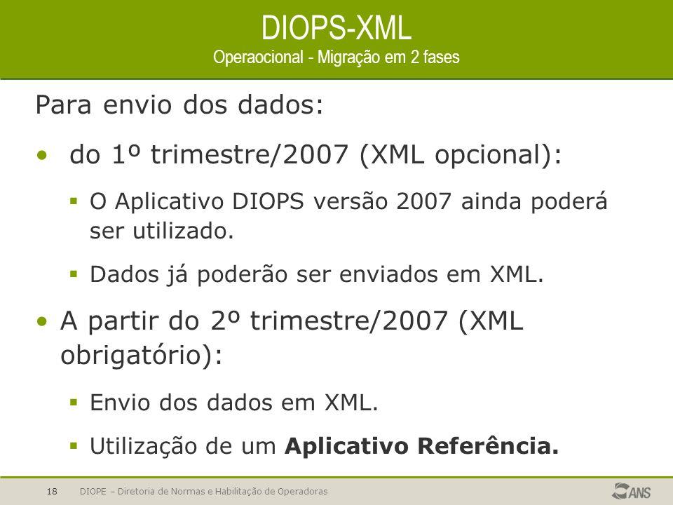 DIOPS-XML Operaocional - Migração em 2 fases
