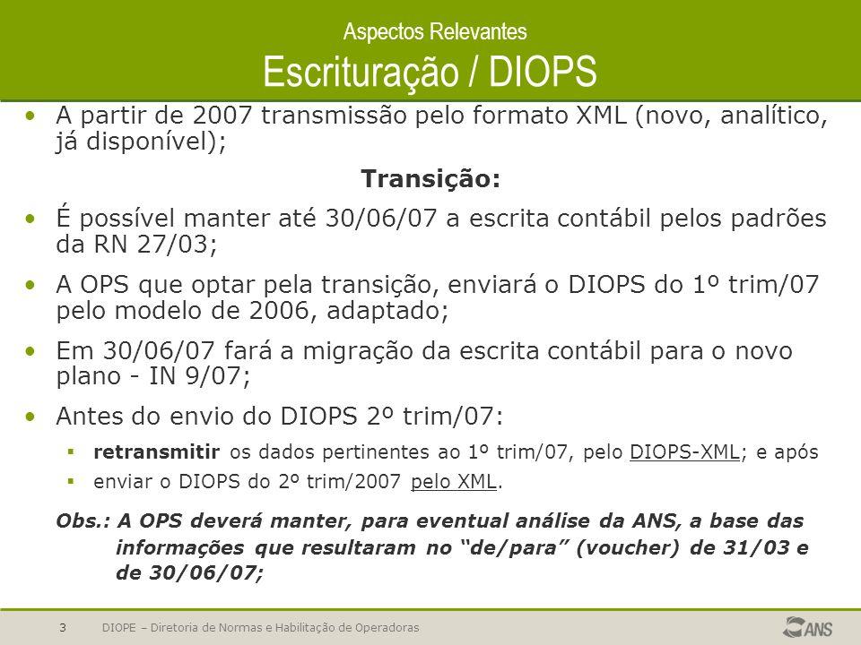 Aspectos Relevantes Escrituração / DIOPS