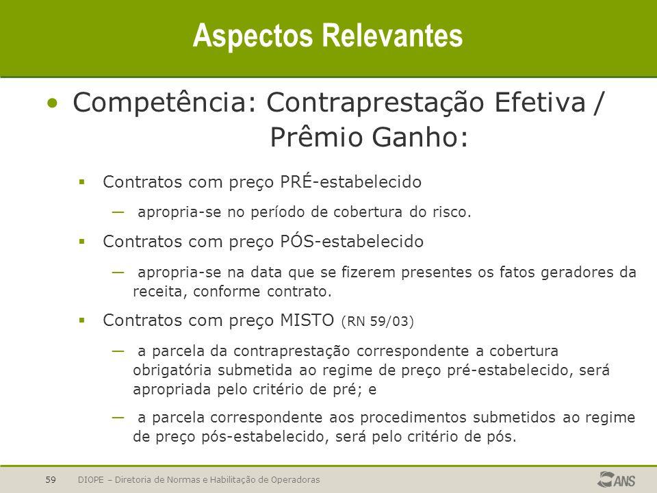 Aspectos Relevantes Competência: Contraprestação Efetiva / Prêmio Ganho: