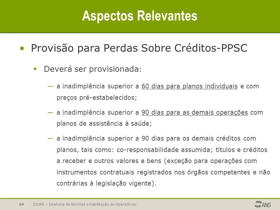 Aspectos Relevantes Provisão para Perdas Sobre Créditos-PPSC