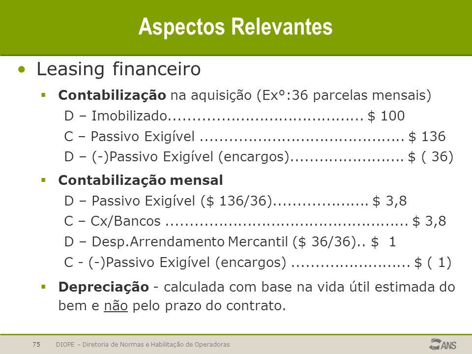 Aspectos Relevantes Leasing financeiro