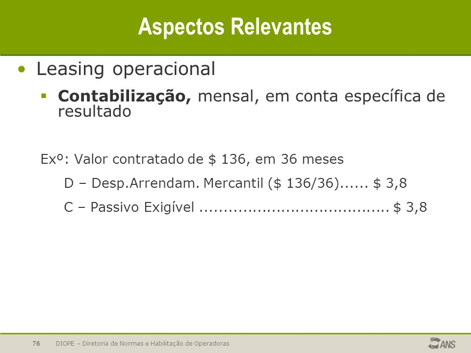 Aspectos Relevantes Leasing operacional
