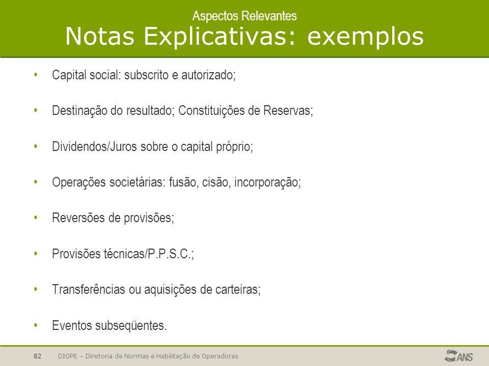 Aspectos Relevantes Notas Explicativas: exemplos