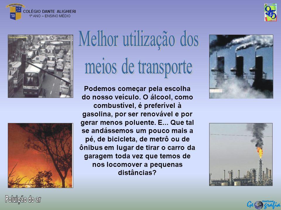 Melhor utilização dos meios de transporte Poluição do ar