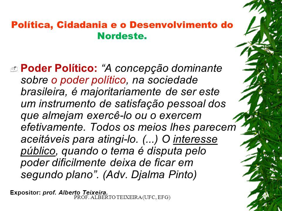 Política, Cidadania e o Desenvolvimento do Nordeste.