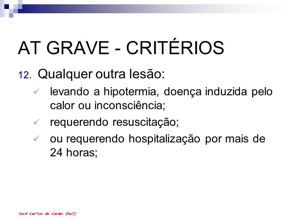 AT GRAVE - CRITÉRIOS Qualquer outra lesão:
