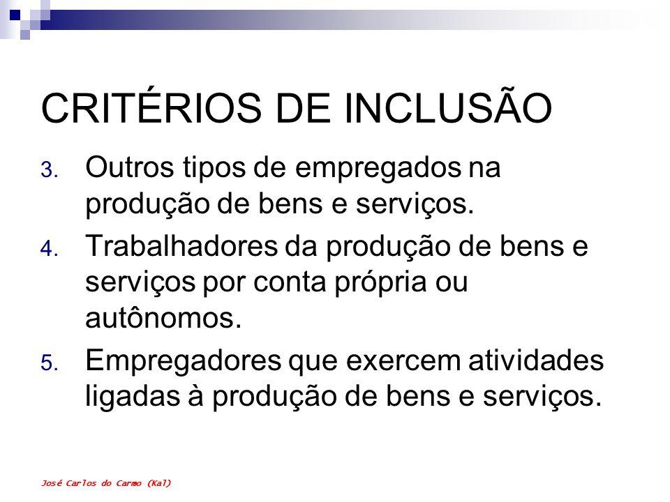 CRITÉRIOS DE INCLUSÃOOutros tipos de empregados na produção de bens e serviços.