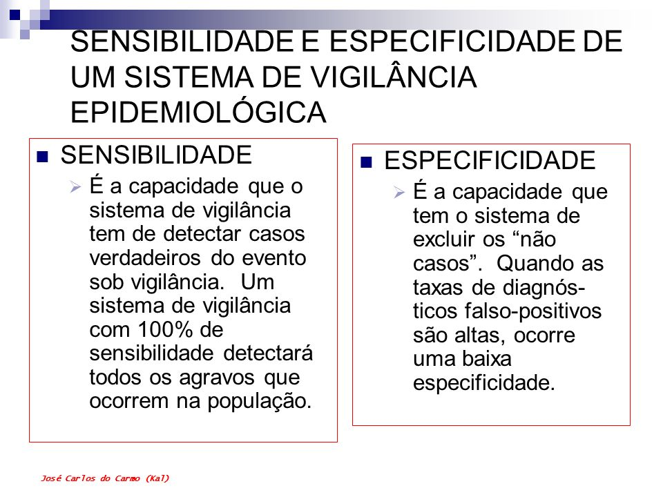 SENSIBILIDADE E ESPECIFICIDADE DE UM SISTEMA DE VIGILÂNCIA EPIDEMIOLÓGICA