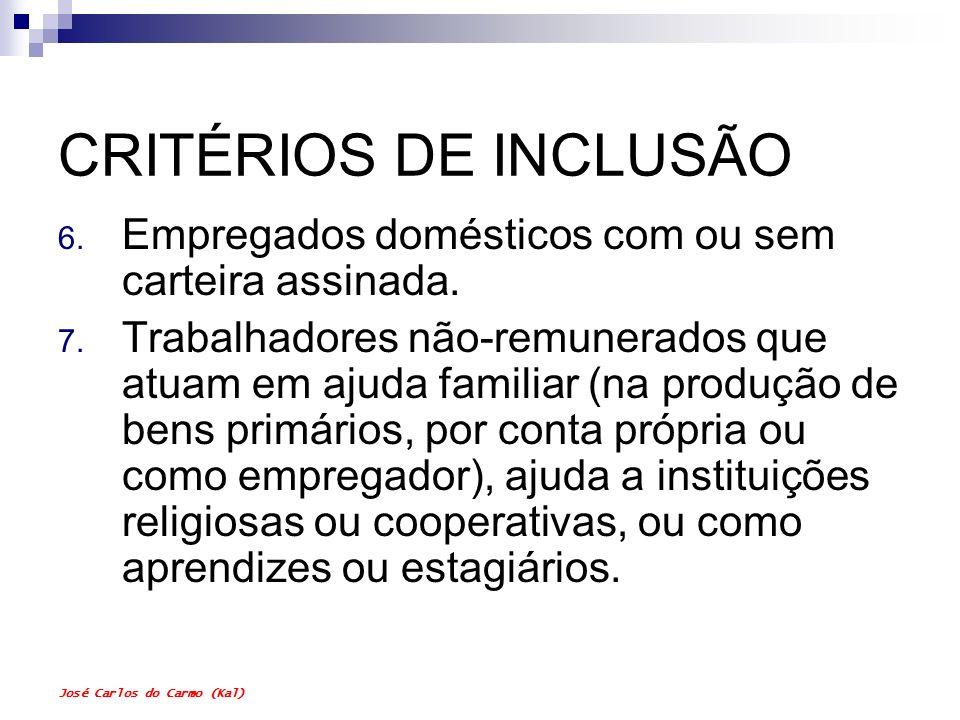 CRITÉRIOS DE INCLUSÃO Empregados domésticos com ou sem carteira assinada.