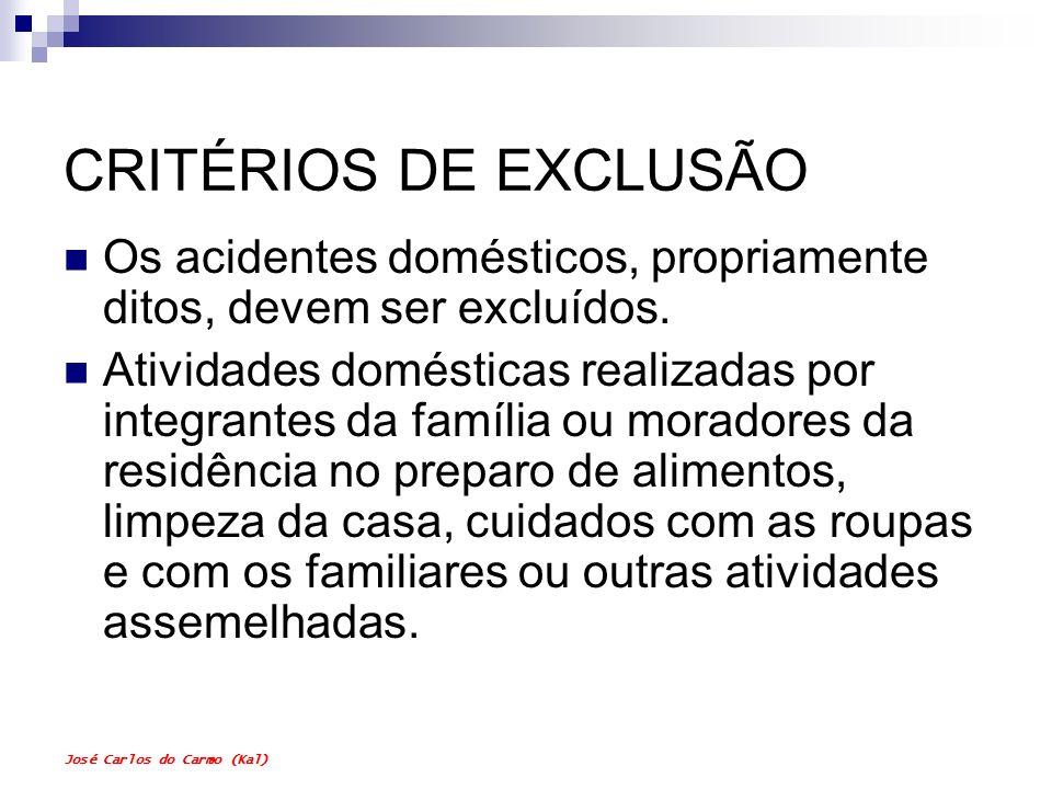 CRITÉRIOS DE EXCLUSÃO Os acidentes domésticos, propriamente ditos, devem ser excluídos.