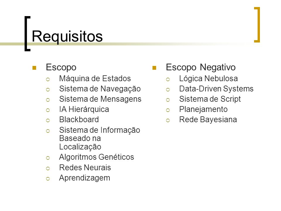 Requisitos Escopo Escopo Negativo Máquina de Estados