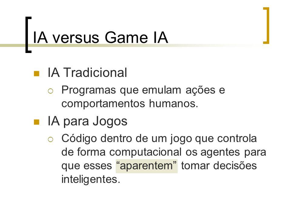 IA versus Game IA IA Tradicional IA para Jogos