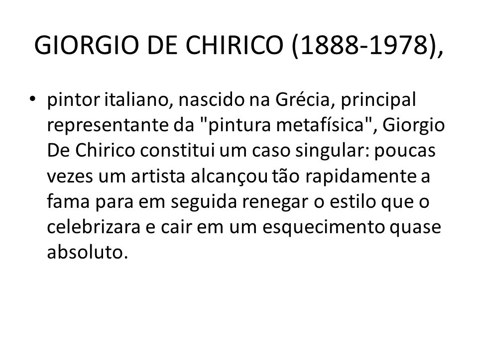 GIORGIO DE CHIRICO (1888-1978),
