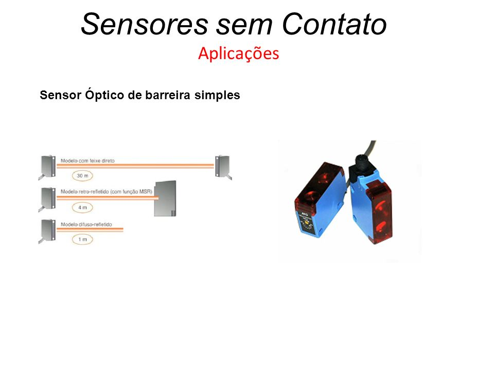 Sensores sem Contato Aplicações Sensor Óptico de barreira simples