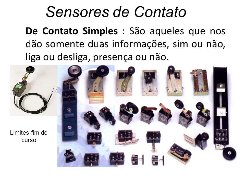 Sensores de Contato De Contato Simples : São aqueles que nos dão somente duas informações, sim ou não, liga ou desliga, presença ou não.