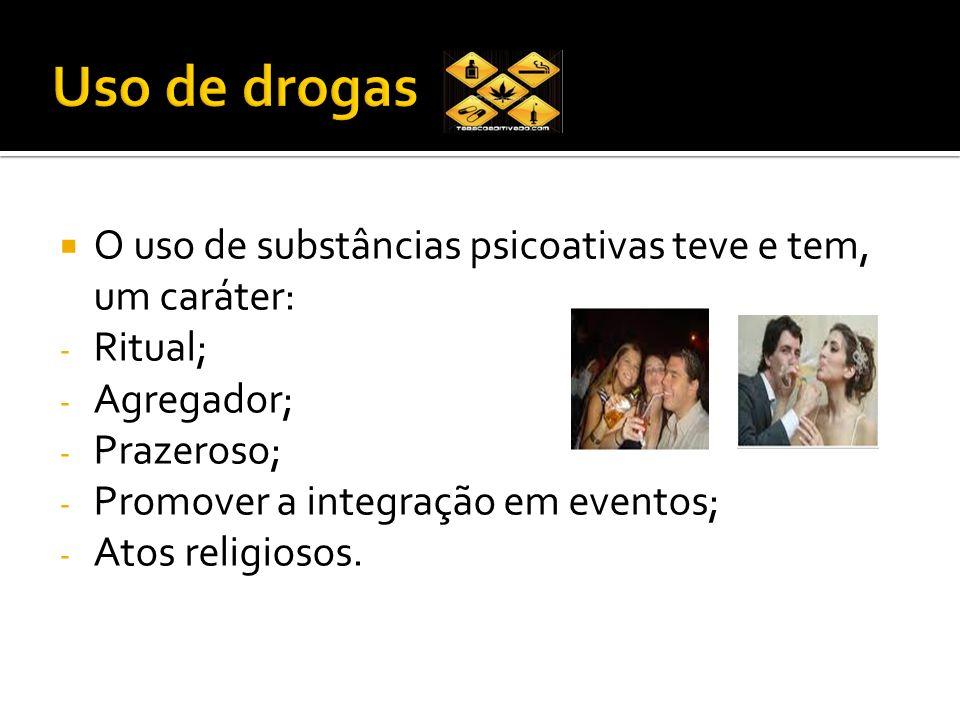 Uso de drogas O uso de substâncias psicoativas teve e tem, um caráter: