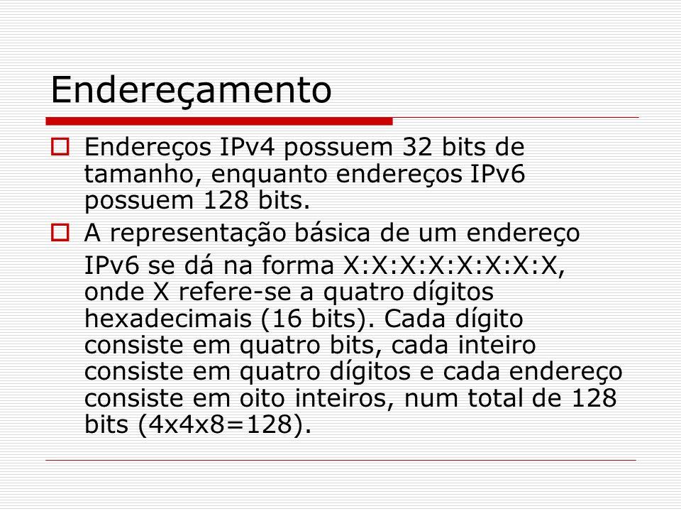 Endereçamento Endereços IPv4 possuem 32 bits de tamanho, enquanto endereços IPv6 possuem 128 bits. A representação básica de um endereço.