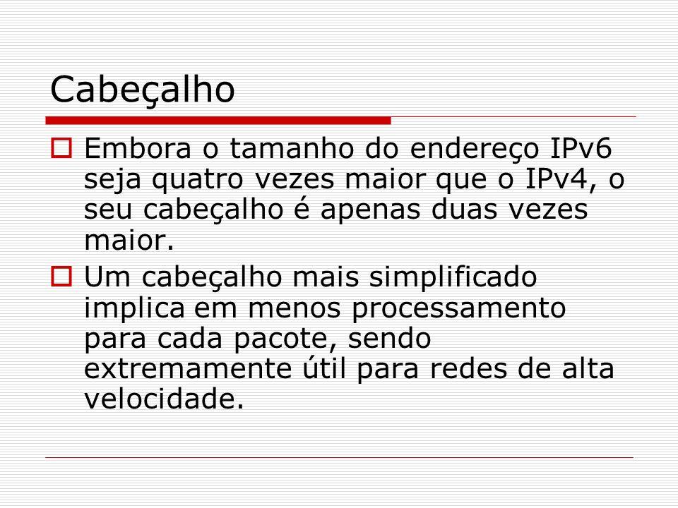 CabeçalhoEmbora o tamanho do endereço IPv6 seja quatro vezes maior que o IPv4, o seu cabeçalho é apenas duas vezes maior.